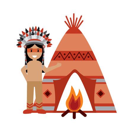 Ilustración de native american indian man with teepee and bonfire - Imagen libre de derechos