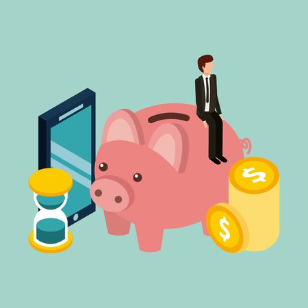 Illustrazione per businessman piggybank time mobile coins money isometric vector illustration - Immagini Royalty Free
