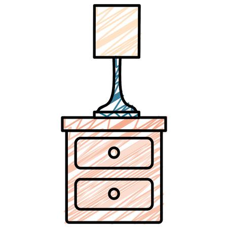 Illustrazione per bedroom lamp in drawer isolated icon vector illustration design - Immagini Royalty Free