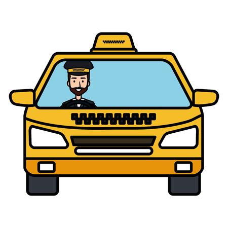 Illustration pour taxi with driver service public icon vector illustration design - image libre de droit