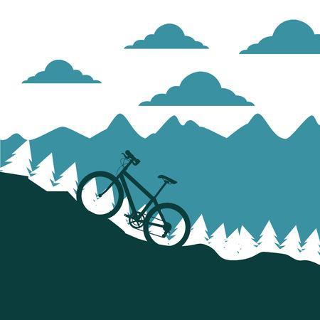 Ilustración de mountain bike ascending silhouette landscape vector illustration - Imagen libre de derechos