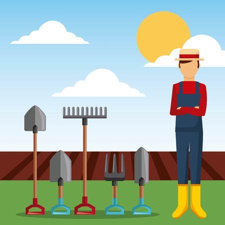 Ilustración de gardener with garden tools and plowing field vector illustration - Imagen libre de derechos