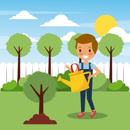 Ilustración de young boy watering tree in garden with trees landscape vector illustration - Imagen libre de derechos