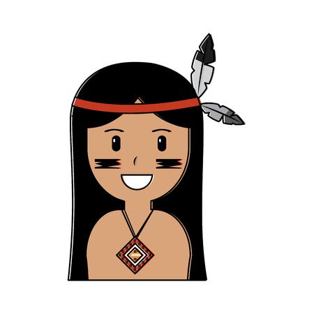 Ilustración de Face of native american aboriginal indian headwear ornament with feathers illustration. - Imagen libre de derechos