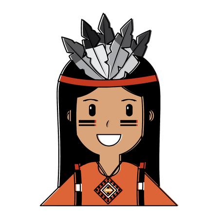 Ilustración de Portrait aboriginal native american vector illustration vector illustration - Imagen libre de derechos