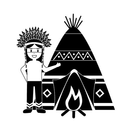Ilustración de Native american indian man with teepee and bonfire vector illustration black image - Imagen libre de derechos