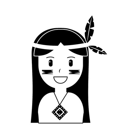 Illustration pour Portrait of aboriginal native american illustration black image. - image libre de droit