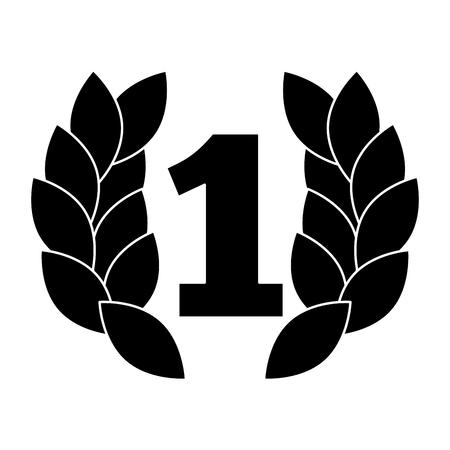 Ilustración de number one with wreath trophy award vector illustration design - Imagen libre de derechos