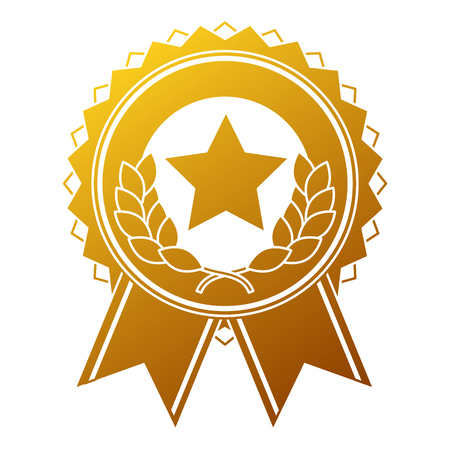 Illustration for winner medal with star and wreath vector illustration design - Royalty Free Image