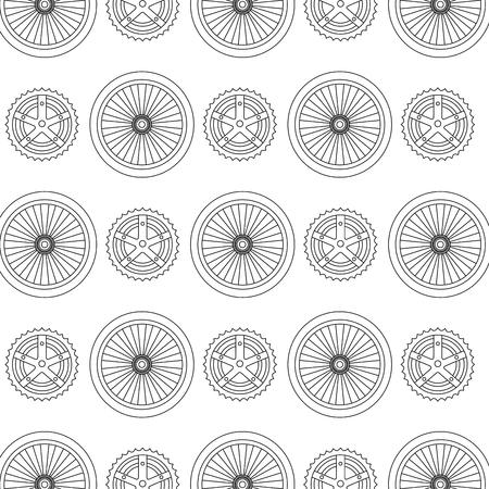 Ilustración de bike wheels and sprocket pattern background vector illustration design - Imagen libre de derechos
