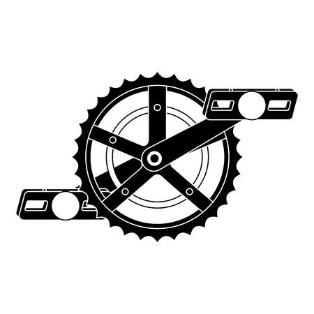 Ilustración de bicycle sprocket with pedal vector illustration design - Imagen libre de derechos