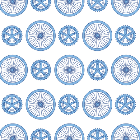Ilustración de Bike wheels and sprocket pattern background vector illustration design - Imagen libre de derechos
