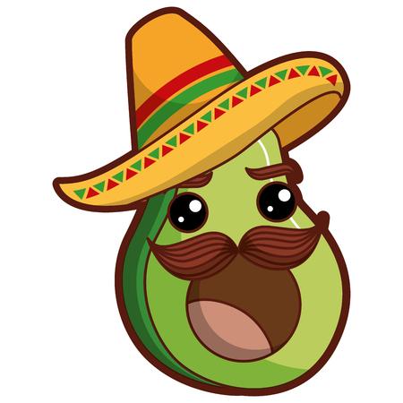 Ilustración de fresh avocado with mexican hat  character vector illustration design - Imagen libre de derechos
