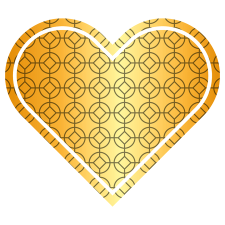 Ilustración de heart love rounded and rhombus style pattern vector illustration golden image - Imagen libre de derechos