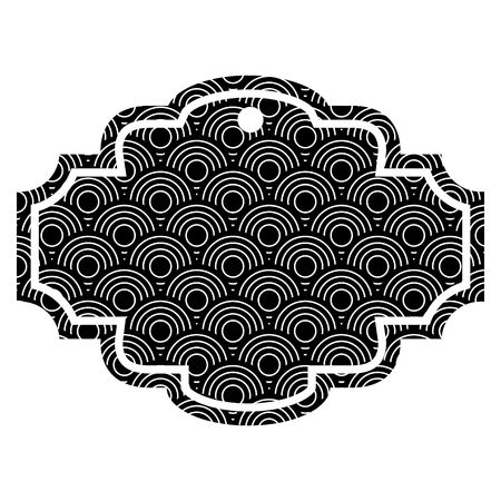 Ilustración de Label rounded lines pattern image vector illustration black and white - Imagen libre de derechos