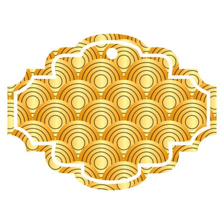 Ilustración de label rounded lines pattern image vector illustration golden image - Imagen libre de derechos