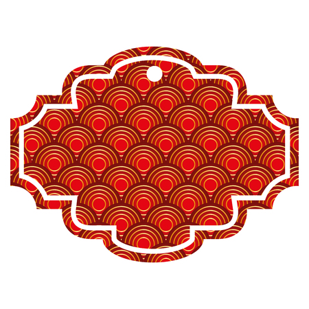 Ilustración de label rounded lines pattern image vector illustration red and golden image - Imagen libre de derechos