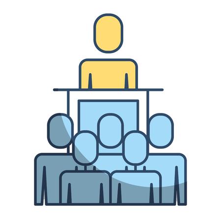Illustration pour Meeting business people boss podium presentation vector illustration - image libre de droit