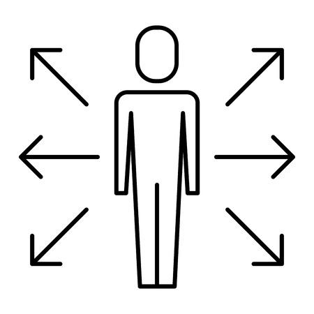 Illustration pour businessman options arrows direction choise vector illustration   thin line design - image libre de droit