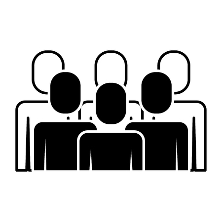 Illustration pour A portrait business people teamwork partnership vector illustration pictogram - image libre de droit