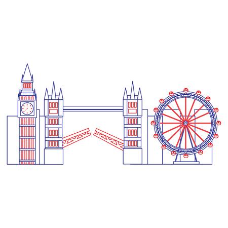Illustration pour big ben eye bridge london united kingdom icon image vector illustrationd design  blue red line - image libre de droit