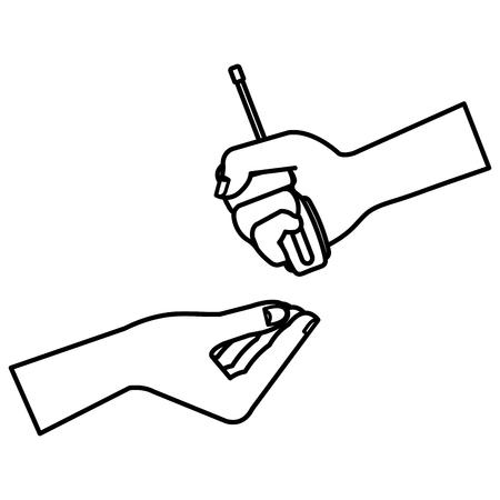 Ilustración de Hands with screwdriver tool isolated icon vector illustration design - Imagen libre de derechos