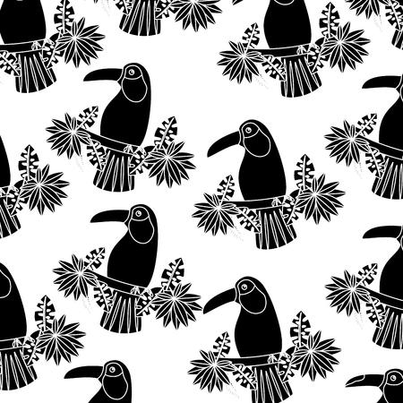 Ilustración de Toucan on branch and leaves bird tropical pattern - Imagen libre de derechos