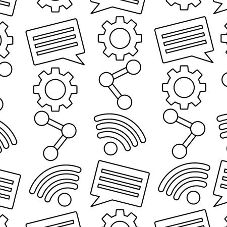 Ilustración de Internet wifi share chat setting pattern vector illustration. - Imagen libre de derechos
