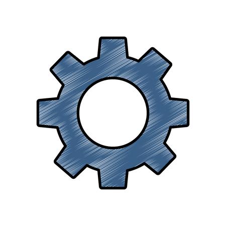 Ilustración de Technical gear setting technology icon vector illustration drawing image - Imagen libre de derechos