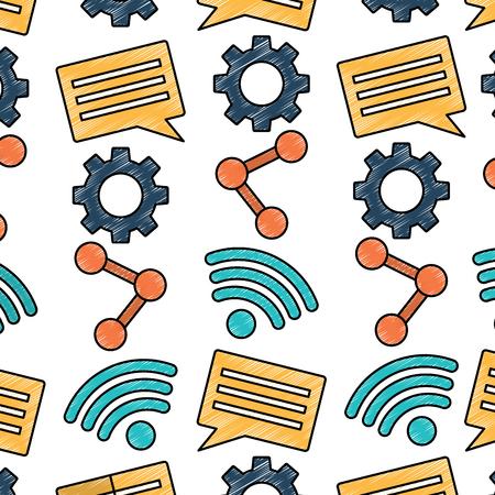 Ilustración de internet wireless share chat setting pattern vector illustration drawing image - Imagen libre de derechos