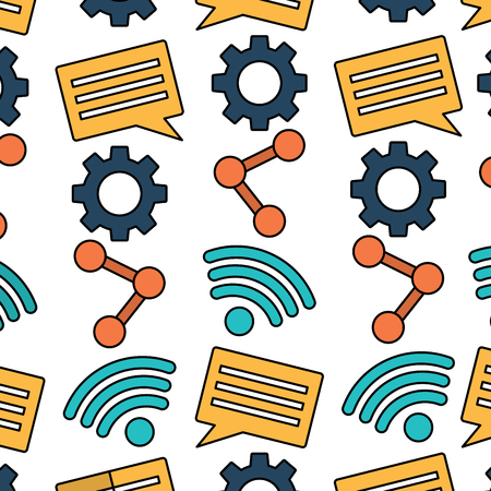 Ilustración de internet wifi share chat setting pattern vector illustration - Imagen libre de derechos
