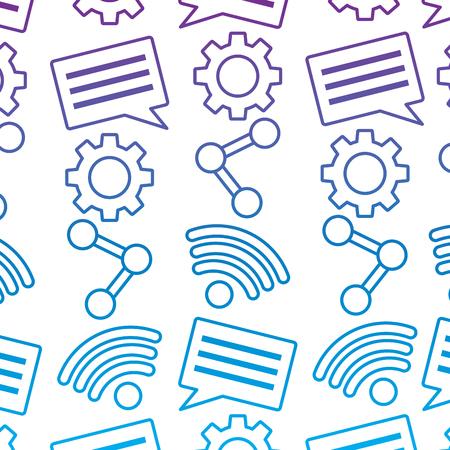Ilustración de internet wifi share chat setting pattern vector illustration outline color image - Imagen libre de derechos