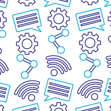 Ilustración de internet wireless share chat setting pattern vector illustration - Imagen libre de derechos