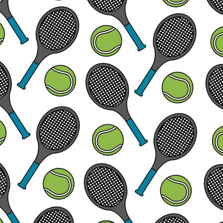 Ilustración de tennis racquet and ball pattern image vector illustration design  - Imagen libre de derechos