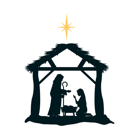Illustration pour Holy family silhouette in stable christmas characters illustration design. - image libre de droit