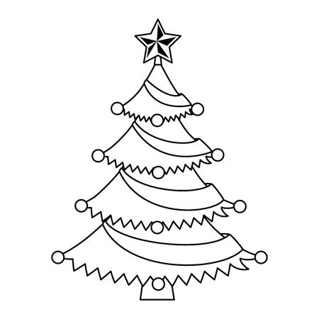 Illustration for Merry Christmas pine tree illustration design. - Royalty Free Image