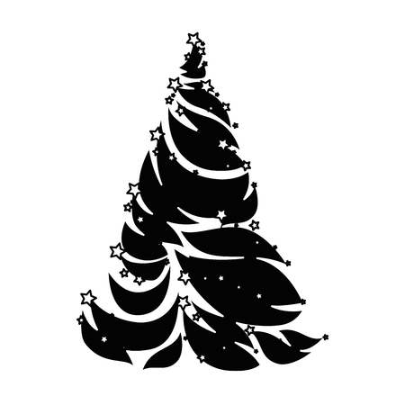 Illustration for Merry Christmas pine tree illustration design. - Royalty Free Image