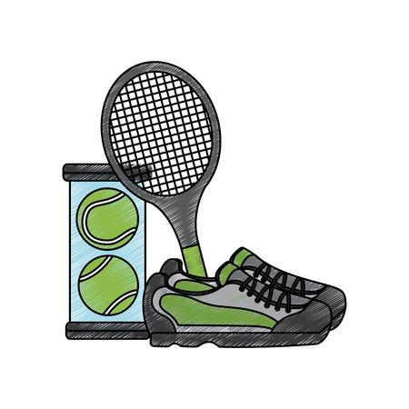 Ilustración de Tennis racket sneakers and balls - Imagen libre de derechos
