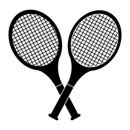 Ilustración de crossed tennis rackets in retro design vector illustration - Imagen libre de derechos