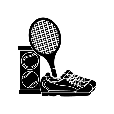 Ilustración de tennis racket sneakers and balls equipment competition vector illustration - Imagen libre de derechos