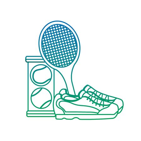 Ilustración de Tennis racket sneakers and balls equipment competition vector illustration - Imagen libre de derechos