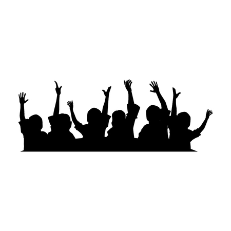 Illustration pour People with hands up silhouette vector illustration design - image libre de droit
