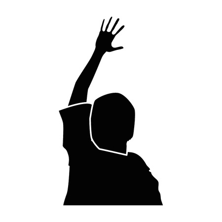 Ilustración de human silhouette with hands up vector illustration design - Imagen libre de derechos