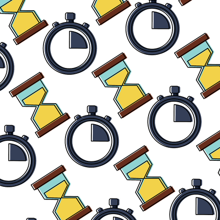 Illustration pour business time stopwatch hourglass sand seamless pattern vector illustration - image libre de droit