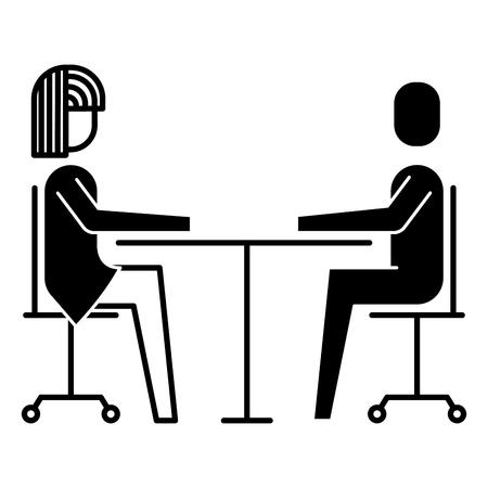 Illustration pour Woman and man business sitting communication team vector illustration - image libre de droit