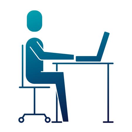 Ilustración de businessman sitting desk laptop working vector illustration  blue image - Imagen libre de derechos