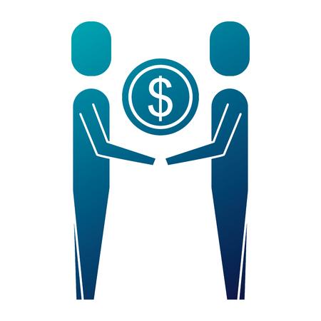 Illustration pour business people holding money coin dollar team vector illustration - image libre de droit