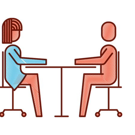 Ilustración de Woman and man business sitting communication team vector illustration. - Imagen libre de derechos