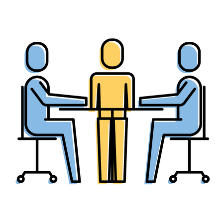 Ilustración de teamwork meeting office people together vector illustration - Imagen libre de derechos