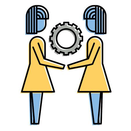 Ilustración de two business women holding gear teamwork concept vector illustration - Imagen libre de derechos